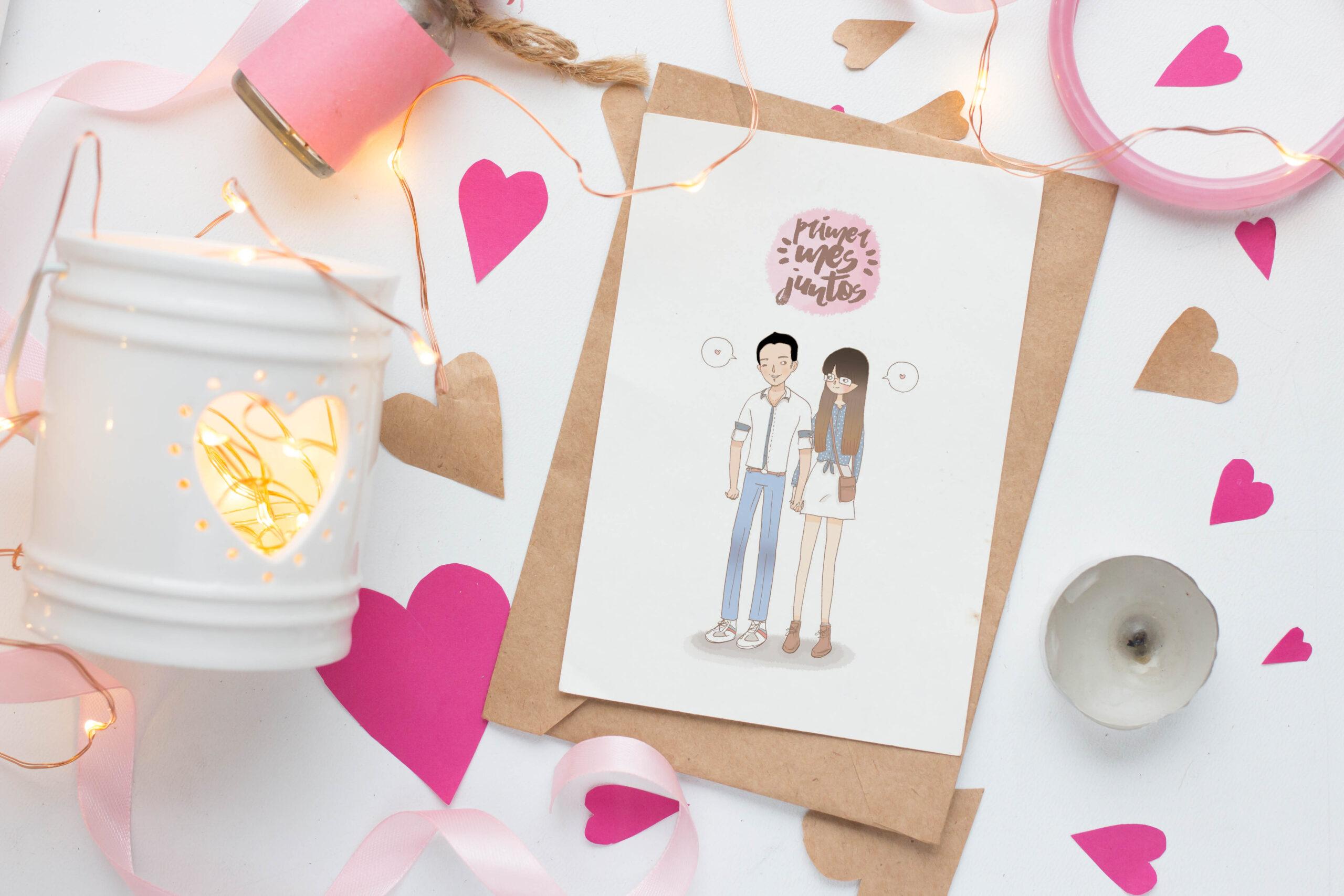 Mesa blanca con papel blanco con ilustracion de una pareja que estan un mes juntos