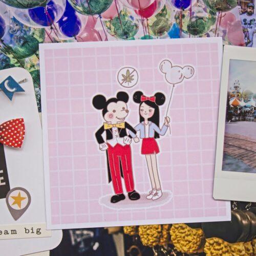 foto ilustracion mickey mouse chica sosteniendo globo y orejas de minnie mouse