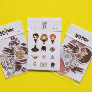 fondo amarillo set de 3 stickers de harry potter