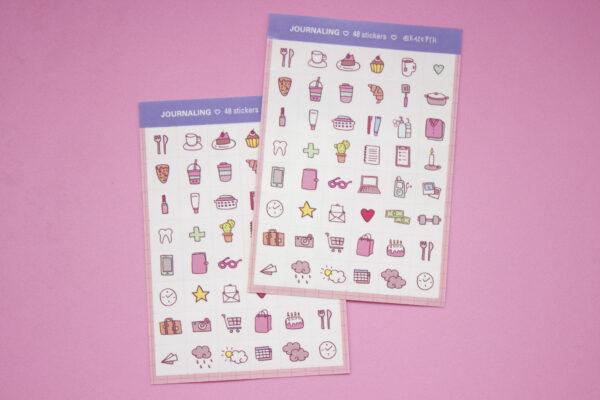fondo rosa dos unidades stickers journaling