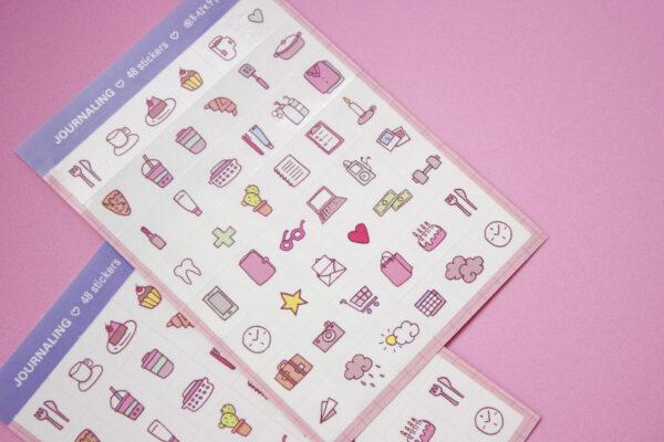 fondo rosa dos unidades stickers journaling close up