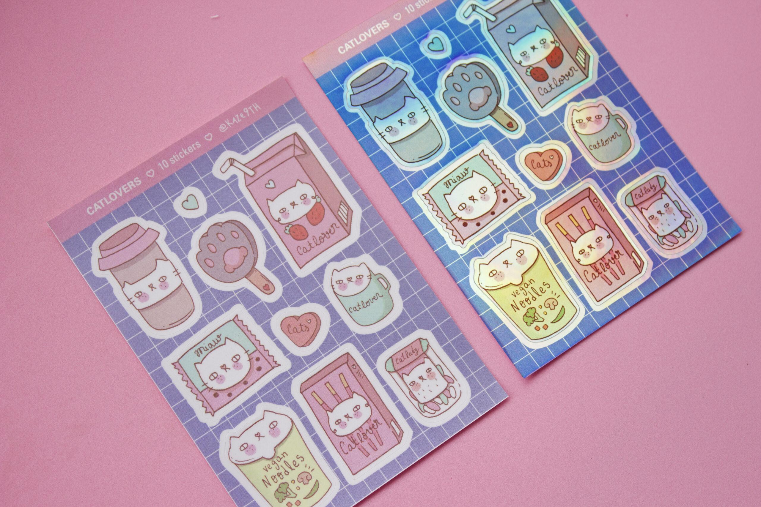 dos stickers fondo rosa catlovers