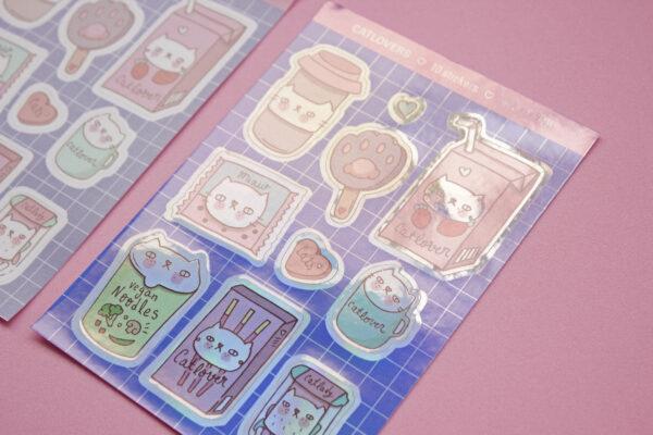 dos stickers fondo rosa catlovers holografico
