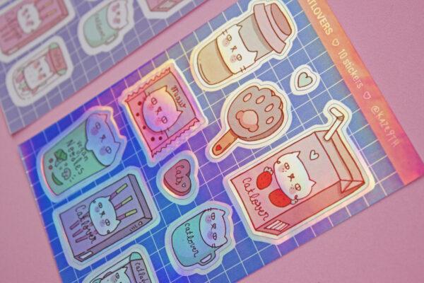 stickers fondo rosa catlovers holografico