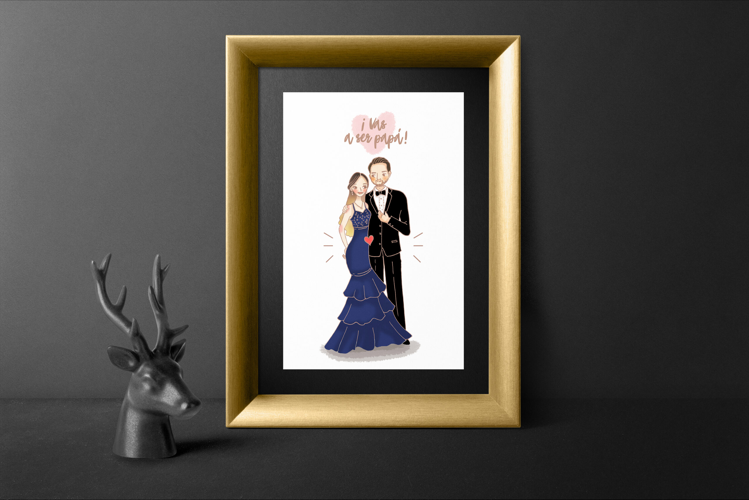 retrato pareja encinta cuadro dorado fondo negro