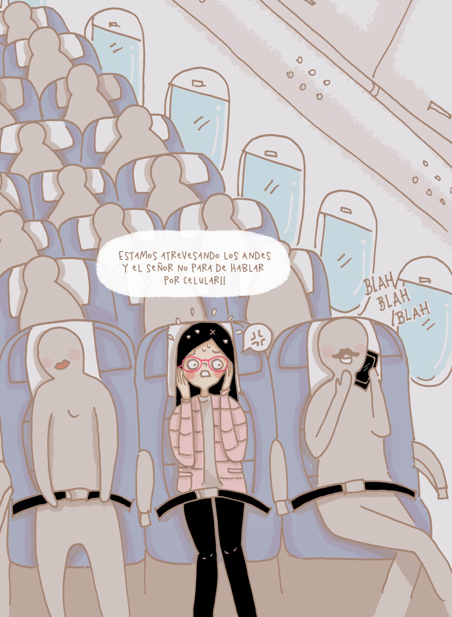 ilustración de asientos de avión y alguien hablando por teléfono