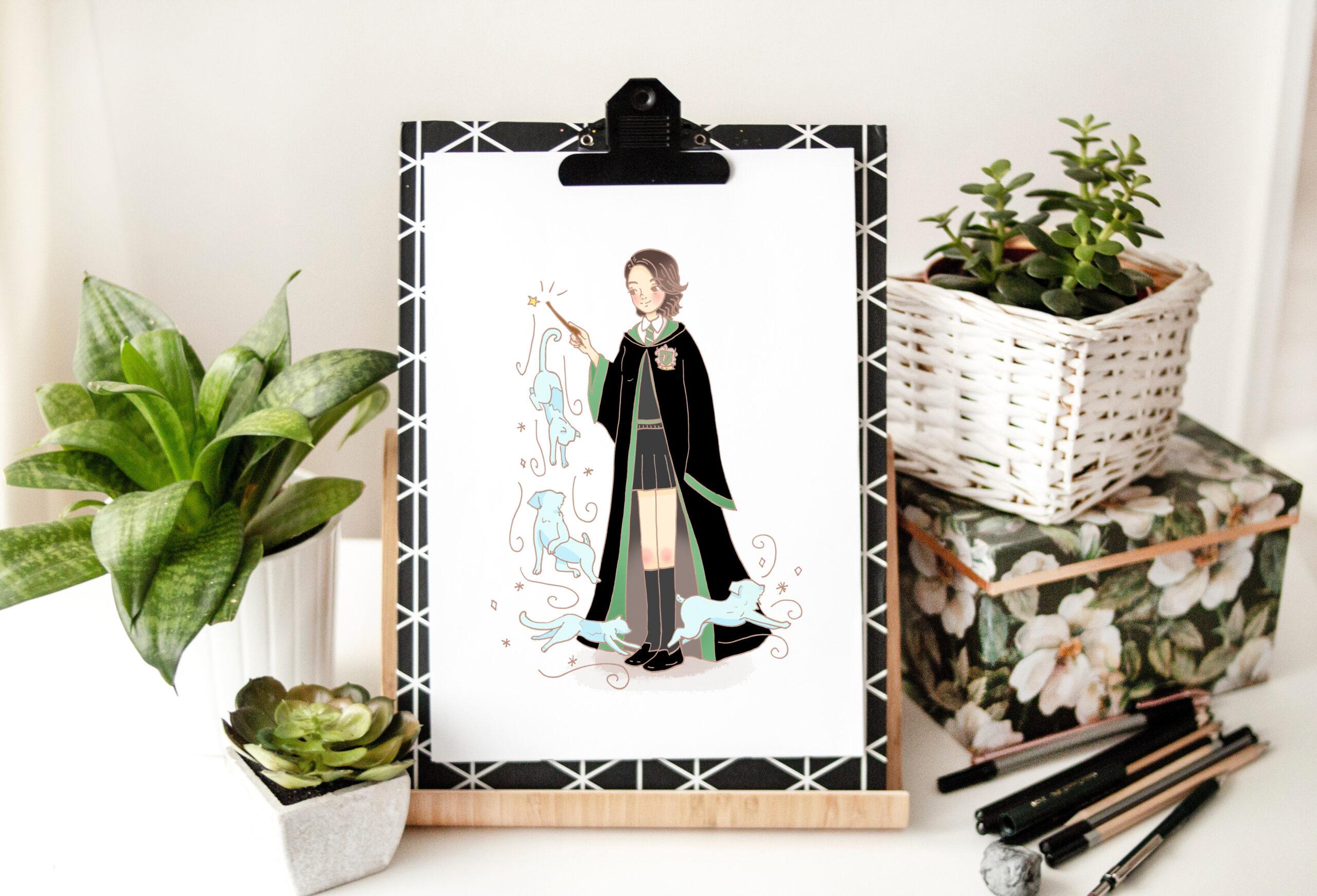 plantas y una hoja blanca con retrato de una chica con pelo corto vestida de la casa de slytherin de hp