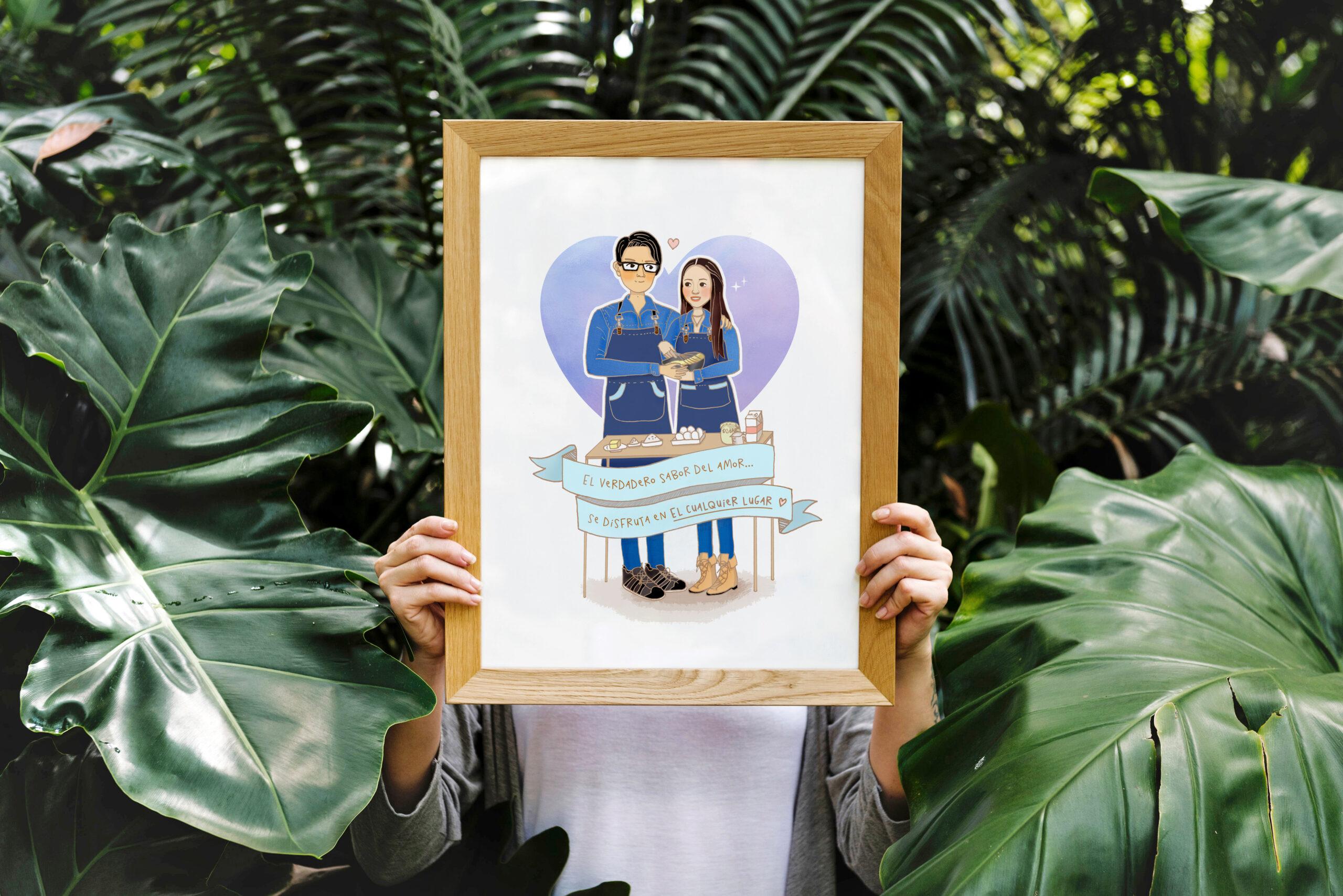 fondo plantas tropicales marco con retrato ilustrado de dos chefs