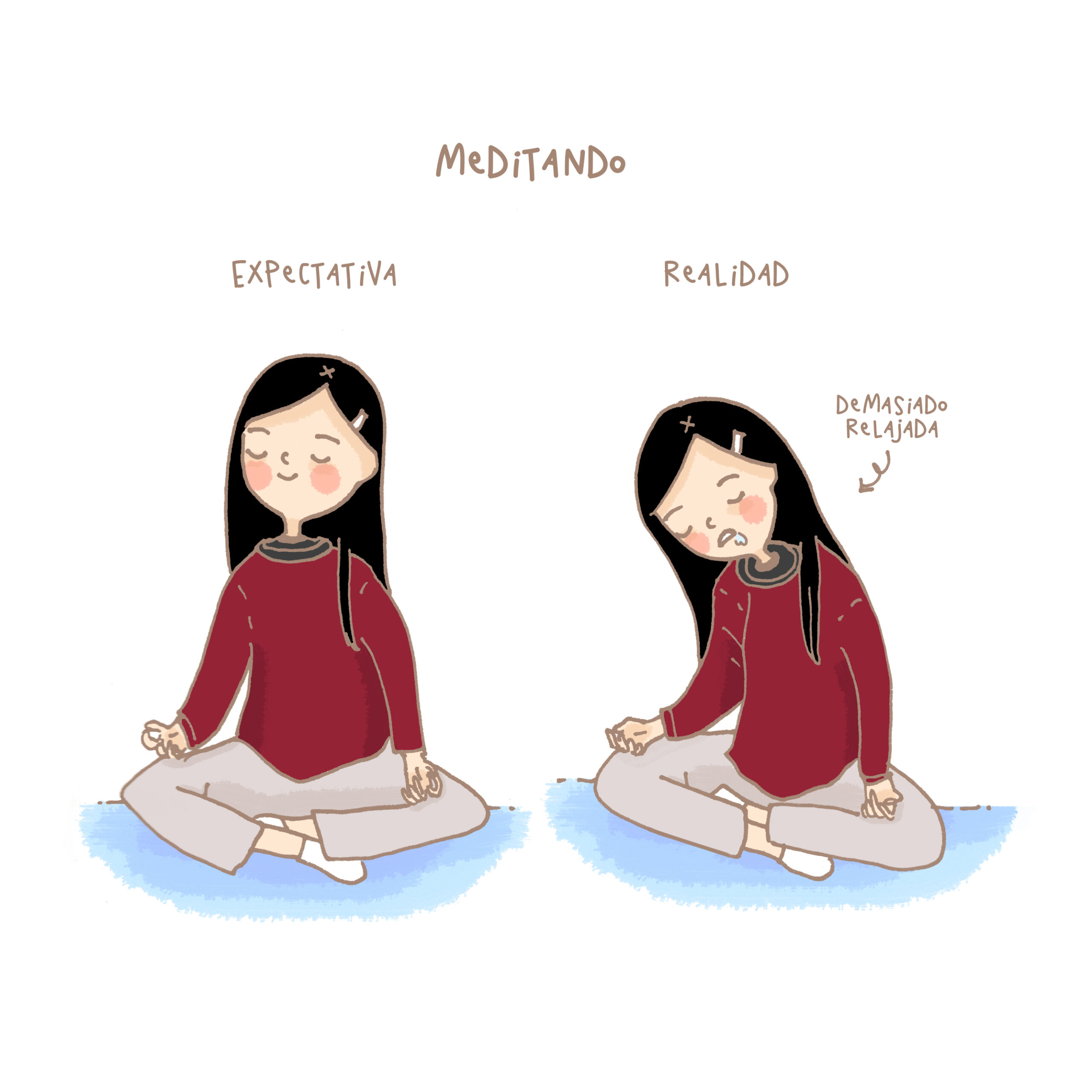 dibujo expectativa realidad sobre meditacion