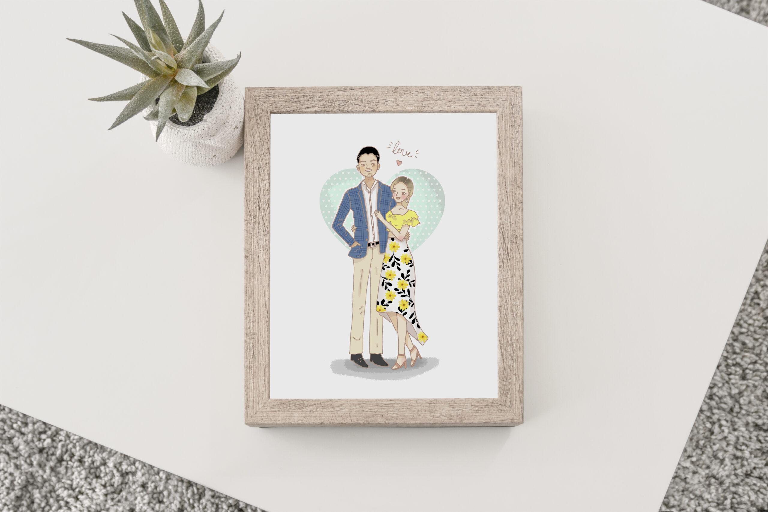 Marco retrato pareja chica vestido amarillo