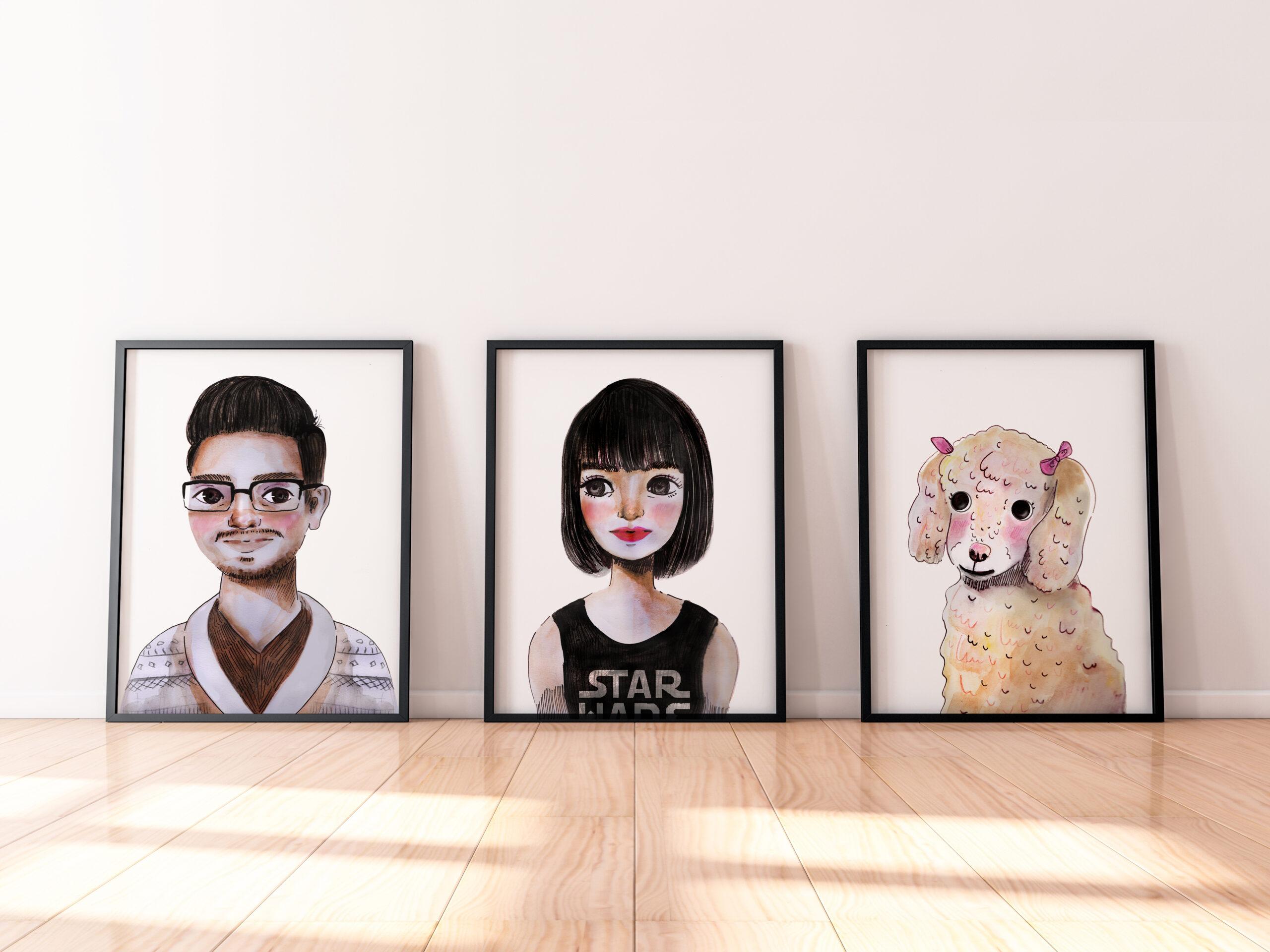 Piso y pared tres cuadros con retrato de un chico una chica y una puddle ilustracion acuarela