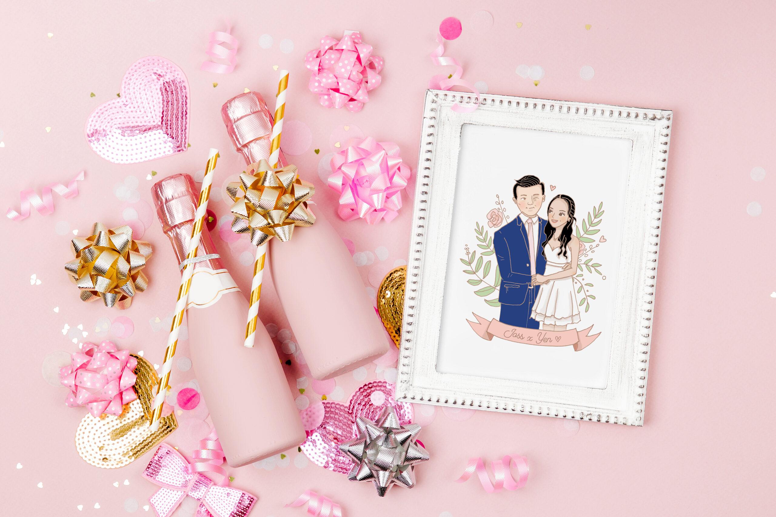 fondo rosado dos champan retrato de una pareja de recien casados